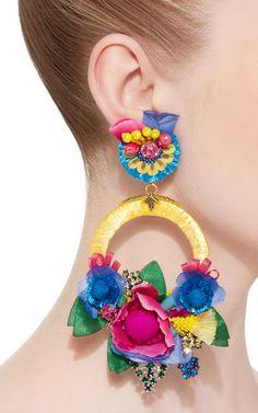 Multi Large Floral Drop Earrings by Ranjana Khan Big Earrings, Bridal Earrings, Beaded Earrings, Drop Earrings, Diy Large Earrings, Statement Earrings, Fashion Earrings, Fashion Jewelry, Fabric Jewelry