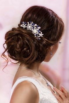 Blue bridal hair comb Something blue hair comb Sapphire blue