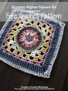 Free Crochet Square Pattern - This Scrappy Afghan Square 2018 Number Six is the in the 2018 Crochet A Block Crochet Along! Free Crochet Square, Crochet Squares Afghan, Granny Square Crochet Pattern, Crochet Blocks, Afghan Crochet Patterns, Crochet Granny, Crochet Motif, Crochet Designs, Granny Squares