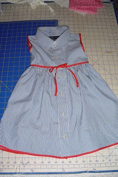 Dress made from an upcycled men's dresshirt~~Who Has More Fun Than Us?