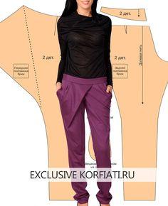 Эти стильные брюки вы сможете смоделировать и сшить самостоятельно, следуйте подробным инструкциям и ваша выкройка будет точной. Выкройка брюк с запахом