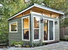 45 Smart and Creative Backyard Studio Shed Design Ideas - DecoRemodel Shed Office, Backyard Office, Backyard Studio, Backyard Sheds, Garden Office, Backyard House, Backyard Cottage, Backyard Gazebo, Modern Backyard