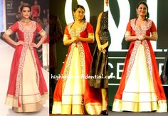 The IIFA 2013 success party was held in Dubai with many celebs in attendance, one of them being Minissha wearing a lehenga by SVA.  As you can see, on the model the long kurta fell a few inches above ground which helped balance the look.