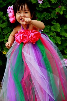 Hot Pink Peonies Tutu Dress Flower Girl Wedding by giselleboutique, $70.00