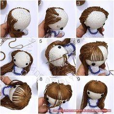 Amigurumi photo tutorial how to hair doll crochet