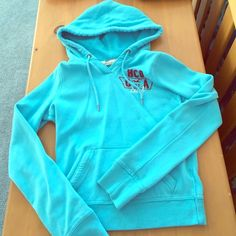 Aqua blue Hollister hoodie Excellent condition. Size small. Hollister Tops Sweatshirts & Hoodies