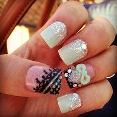 Mint Green Nail Glam #Nails #Inspiration #NOTD #NailPolish #NailDesign #Glam #Beauty #Bling #Sparkle #Glitter #GlitterNails #Mint #Silver #Black #Nude #Design #StPattysDay #Bow #Lace #Corset #Nail #Fashion #SignatureNail #Mani