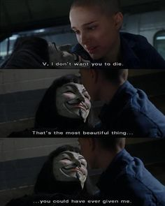 #VforVendetta   Evey & V,I'm not crying..you are. - The wolf that kills