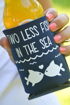 Two Less Fish In The Sea Wedding Koozies Personalized on Etsy, $27.00