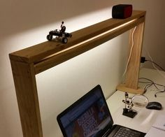 """Construct a work bench """"Light, Shelf and Power Box"""" in one which is great for a Makers workshop.Ive found it invaluable for close up work on projects as it shields your eyes from direct glare and reflects light off a back wall providing you a bright area on the underlying workbench.It also sorts out the problem of getting enough power to the desk and you can put items on top of it safely like your wireless speakers.The unit is very cost effective and easy to make as its been..."""