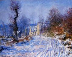 Claude Monet The Road to Giverny in Winter print for sale. Shop for Claude Monet The Road to Giverny in Winter painting and frame at discount price, ships in 24 hours. Cheap price prints end soon. Claude Monet, Pierre Auguste Renoir, Monet Paintings, Landscape Paintings, Landscapes, Artist Monet, Oil Painting Reproductions, Impressionist Paintings, Winter Landscape