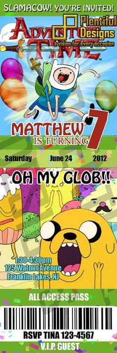 personalized party invites: adventure time. SO Making these for my bro's 21st b-day. He loves this show still to this day!