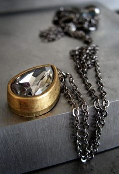 Vintage crystal teardrop necklace- smoke & gold on Etsy