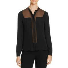 Elie Tahari Coretta Silk Blouse ($285) ❤ liked on Polyvore featuring tops, blouses, black, twist top, embroidered top, see through blouse, elie tahari blouse and sheer silk blouse
