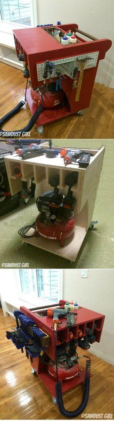 Rolling Air Compressor and Tool Organizing Work Cart sawdustgirl.com/...