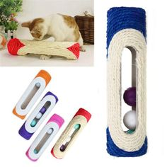 Vktech® Pet Cat Kitten Kitty Toy Rolling Sisal Scratching Post Trapped Ball Training ** Check out this great product.