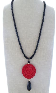 Red cinnabar necklace black crystal necklace by Sofiasbijoux