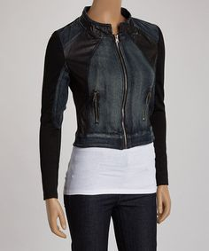 Look what I found on #zulily! Blue & Black Moto Jacket by Peppe Peluso Studio #zulilyfinds
