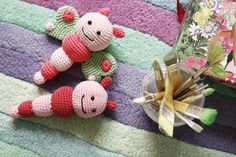 Crochet bug and butterflies rattles for babies, handmade by Cherry Frog