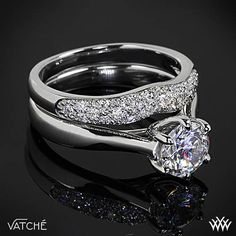 """Vatche """"Royal Crown"""" Solitaire Engagement Ring and Diamond Wedding Ring"""