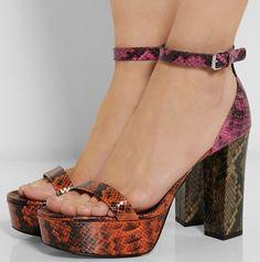 Stella McCartney Color-block faux python platform sandals