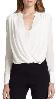 BCBGMAXAZRIA Jaklyn Draped Long-Sleeve Blouse #affiliate #businesscasual #workoutfit