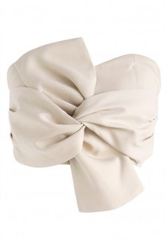 Sweet Knot Bustier Top in Cream - Retro, Indie and Unique Fashion