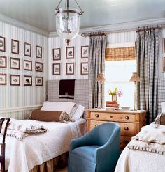 great colors, twin beds, blue, brown, stripes wallpaper, small framed prints, striped, upholstered headboard, natural, muted, boy, boy's bedroom, teen, cottage style