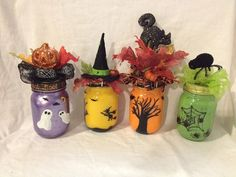 Halloween Hand Painted Lighted Mason Jar by MyPaintedTreasures, $15.00
