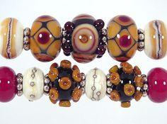Topaz - Ivory- Brown Lampwork Bead Set-Made to Order-  (11)-Sharpline Designs SRA