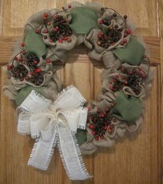 Country Wreath, Burlap Wreath, Holiday Wreath, Christmas Wreath, Pine Cone Wreath by ColorofSeasons on Etsy https://www.etsy.com/ca/listing/253330672/country-wreath-burlap-wreath-holiday
