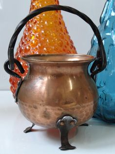 Rustic Mid Century Vintage Hammered Copper Kettle Cauldron Pot | eBay