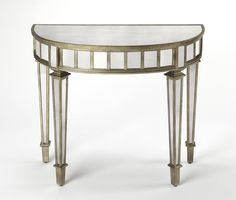 Butler Specialty Garbo Mirrored Demilune Console Table, As Shown Mirrored Nightstand, Mirrored Furniture, Dresser With Mirror, Entryway Furniture, Art Deco Furniture, Entryway Tables, Traditional Console Tables, Mirror Panels, Butler