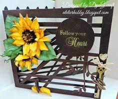 Handmade Atelier: Felicitare handmade  Floarea soarelui -  trellis c... designed DyaGcraft