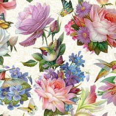 Hummingbird Bouquet Sky Blue by Elizabeth's Studio Cotton Quilting Fabric Yardage Burlap Fabric, Cotton Quilting Fabric, Cotton Quilts, Art Floral, Floral Prints, Asian Fabric, Bouquet, Silk Painting, Amazon Art