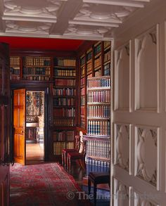 View into the library with a jib door on which the books displayed consist of dummy spines, Birr Castle, Ireland.