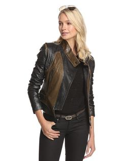 www.myhabit.com  Two-tone moto-style leather jacket with off-center zip closure, snap-tab stand collar, quilting detail at shoulders, zip pockets, zipper trim at hem