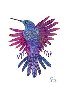 violet wing hummingbird miniature gouache painting by Golly Bard