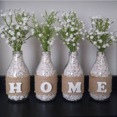 Home Flower Vase Decor - Glass Bottle Crafts, Diy Bottle, Wine Bottle Art, Diy Crafts For Home Decor, Diy Crafts To Sell, Wine Decor, Mason Jar Crafts, Handmade Home, Recycling Ideas