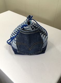 Project Bag, Drawstring style, Blue, from Upcycled jeans & Upholstery fabric samples by SavedbyKate on Etsy