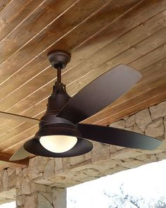 Indoor/outdoor ceiling fan made of glass, steel, and plastic. All-weather ABS plastic blades; integral light kit with opal glass light cover. Dual remote controls, one hand held and one wall mounted. Patio Ceiling Ideas, Best Outdoor Ceiling Fans, Porch Ceiling, Home Ceiling, Ceiling Canopy, Outdoor Fans, Patio Ideas, Ceiling Panels, Pool Ideas