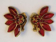 Vintage Bezel Set Layered Red Glass Earrings Holiday