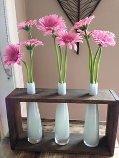 Beautiful customer photo of triple vase set made from recycled wood.