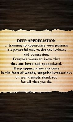 Deep Appreciation of your partner #relationshipadvice #couples #lastinglove #iloveu #justthetwo #usagainsttheworld #soulmates