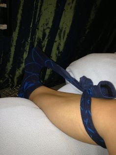 Plantar Fasciitis Cure! Put on one high knee sock as far as the ankle and tie the other high knee sock to the end of it and wrap around your calf! Sleep with your foot in this stretched position all night, and you should wake up pain free :)