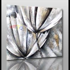 modern abstract wall art black and white flower simple oil painting