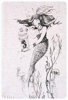 sale retailer 6ec92 72b6b Womens t shirt dress- Steampunk Dress - Mermaid Art - Screenprint TUNIC