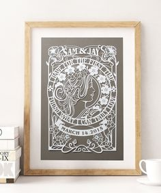 11x17 in Custom Papercut for art nouveau Wedding , Anniversary decoration and gift by EpicLayers on Etsy https://www.etsy.com/listing/223792859/11x17-in-custom-papercut-for-art-nouveau