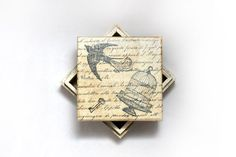 Wooden Decoupaged Treasury Box with Swallow and by MyHouseOfDreams, $17.00
