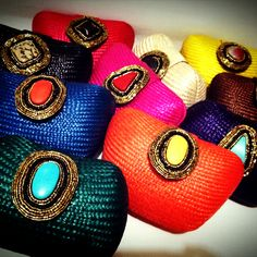 TONI & BERNE Mini Embellished Woven Bags! New colors include tangerine, dark imperial blue and forest green! www.toniandberne.com